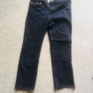 Topshop Black Denim Jeans Distressed Bottom